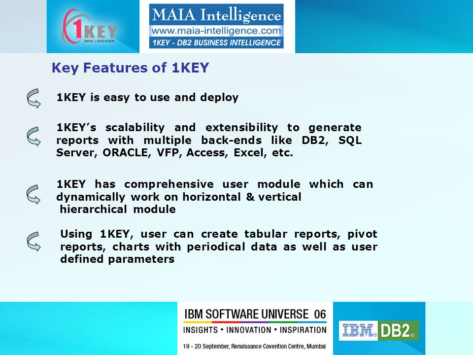 1KEY is easy to use and deploy 1KEY's scalability and extensibility to generate reports with multiple back-ends like DB2, SQL Server, ORACLE, VFP, Acc
