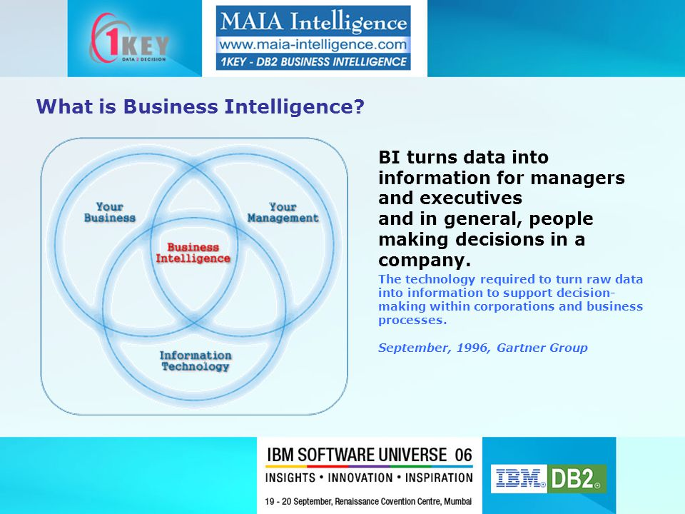 The technology required to turn raw data into information to support decision- making within corporations and business processes. September, 1996, Gar