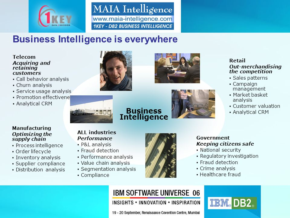 Business Intelligence is everywhere Business Intelligence Retail Out-merchandising the competition  Sales patterns  Campaign management  Market basket analysis  Customer valuation  Analytical CRM Manufacturing Optimizing the supply chain  Process intelligence  Order lifecycle  Inventory analysis  Supplier compliance  Distribution analysis Telecom Acquiring and retaining customers  Call behavior analysis  Churn analysis  Service usage analysis  Promotion effectiveness  Analytical CRM ALL industries Performance  P&L analysis  Fraud detection  Performance analysis  Value chain analysis  Segmentation analysis  Compliance Government Keeping citizens safe  National security  Regulatory investigation  Fraud detection  Crime analysis  Healthcare fraud