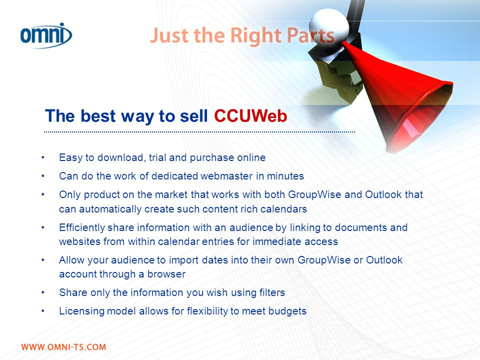 The best way to sell CCUWeb Easy to download, trial and purchase online Can do the work of dedicated webmaster in minutes Only product on the market t