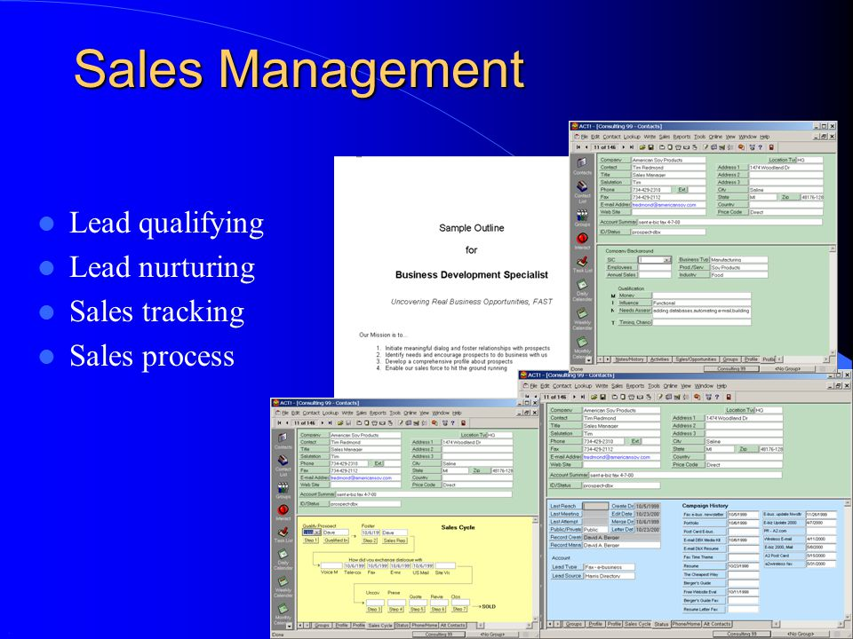 Sales Management Lead qualifying Lead nurturing Sales tracking Sales process.