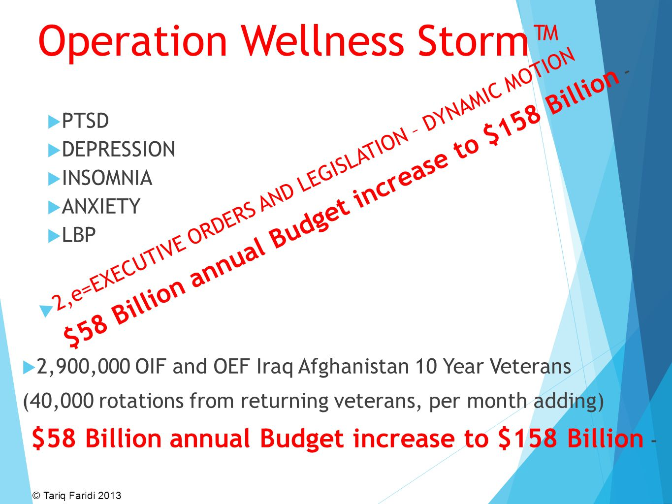 Operation Wellness Storm™  PTSD  DEPRESSION  INSOMNIA  ANXIETY  LBP  2,900,000 OIF and OEF Iraq Afghanistan 10 Year Veterans (40,000 rotations f