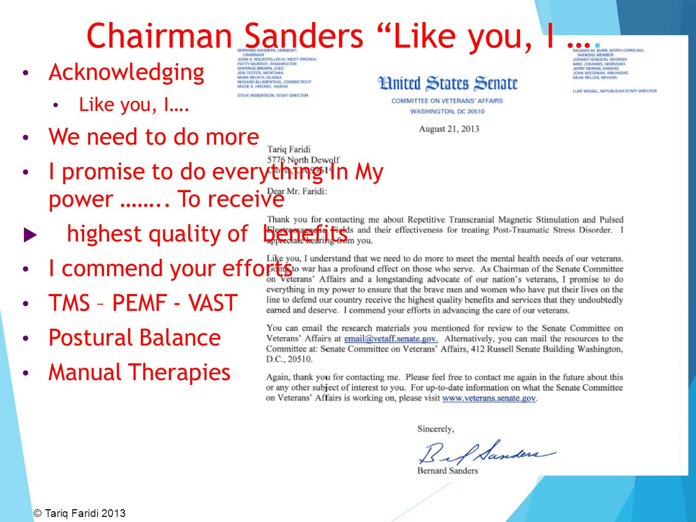 Chairman Sanders Like you, I …. Acknowledging Like you, I….