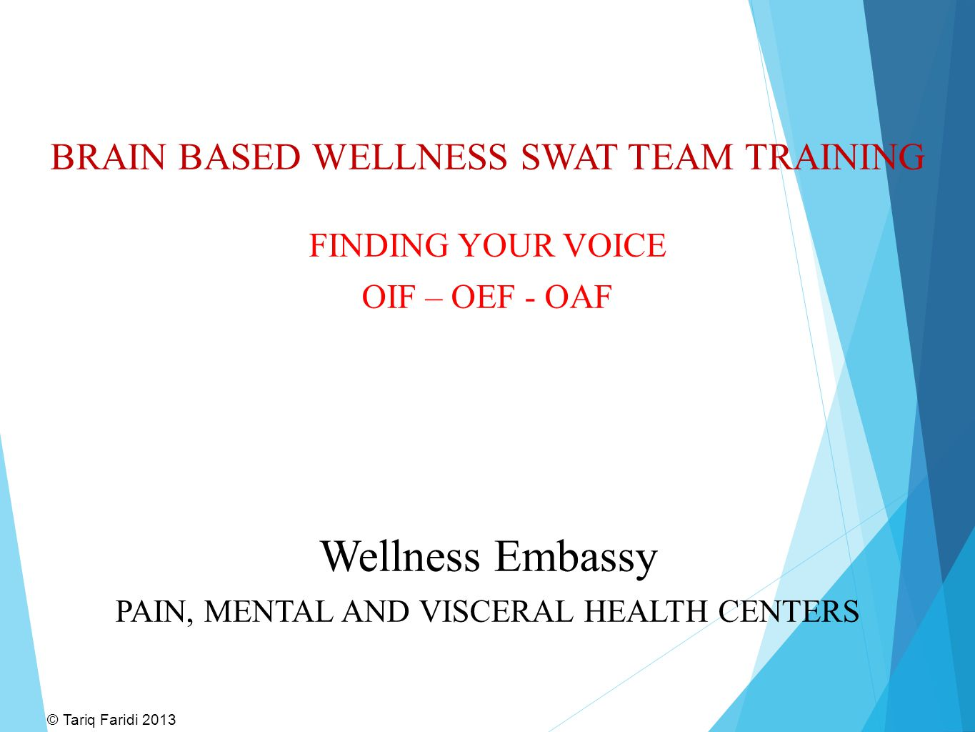 BRAIN BASED WELLNESS SWAT TEAM TRAINING FINDING YOUR VOICE OIF – OEF - OAF Wellness Embassy PAIN, MENTAL AND VISCERAL HEALTH CENTERS © Tariq Faridi 20