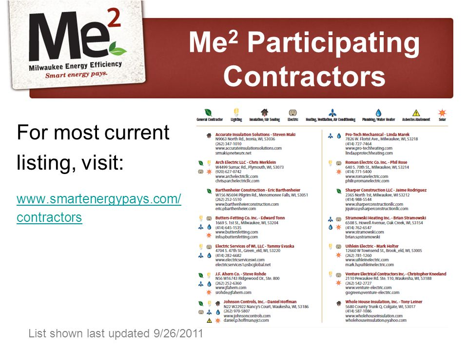 For most current listing, visit: www.smartenergypays.com/ contractors List shown last updated 9/26/2011