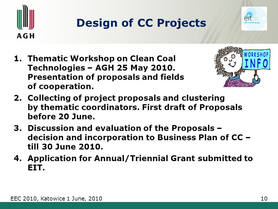 Design of CC Projects 1.Thematic Workshop on Clean Coal Technologies – AGH 25 May 2010.