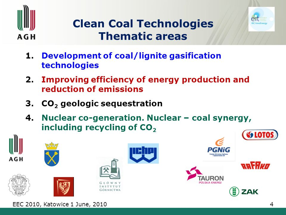 1.Development of coal/lignite gasification technologies 2.Improving efficiency of energy production and reduction of emissions 3.CO 2 geologic sequestration 4.Nuclear co-generation.