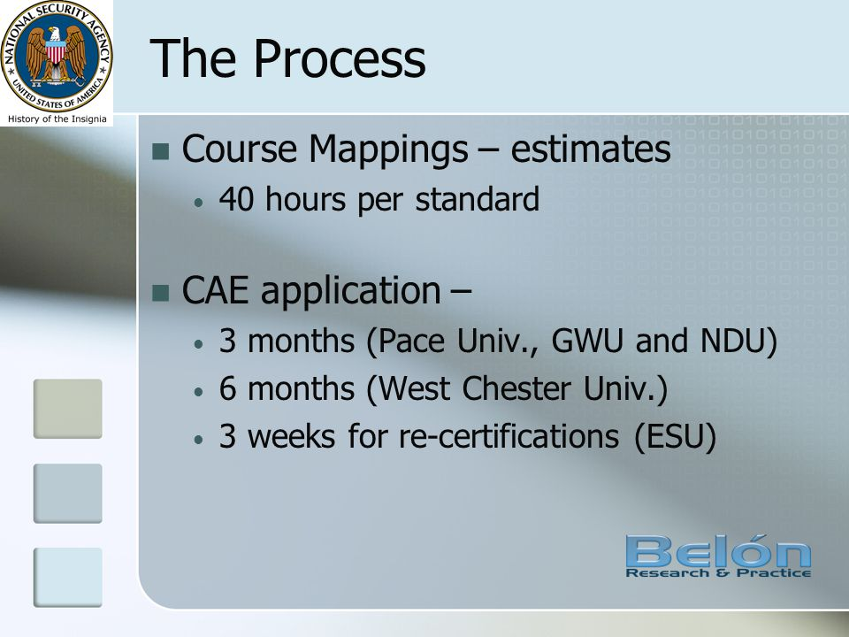 The Process Course Mappings – estimates 40 hours per standard CAE application – 3 months (Pace Univ., GWU and NDU) 6 months (West Chester Univ.) 3 wee