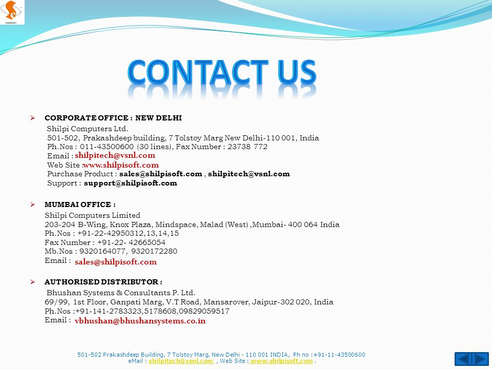  CORPORATE OFFICE : NEW DELHI Shilpi Computers Ltd.