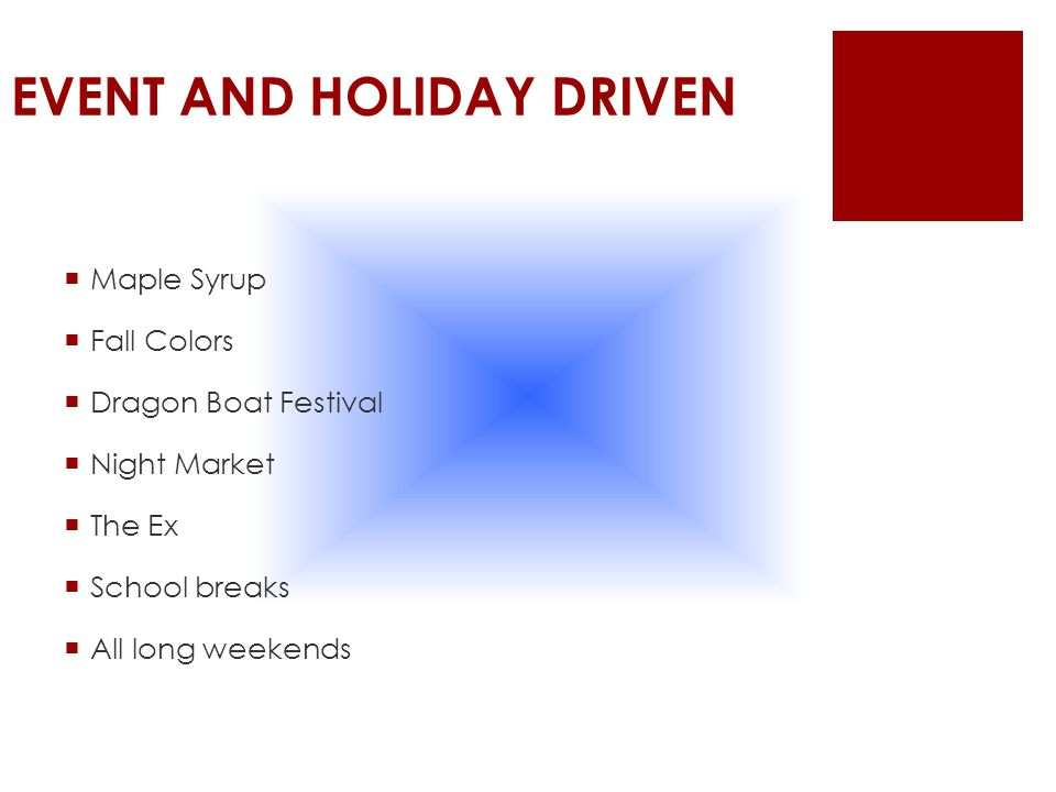 EVENT AND HOLIDAY DRIVEN  Maple Syrup  Fall Colors  Dragon Boat Festival  Night Market  The Ex  School breaks  All long weekends