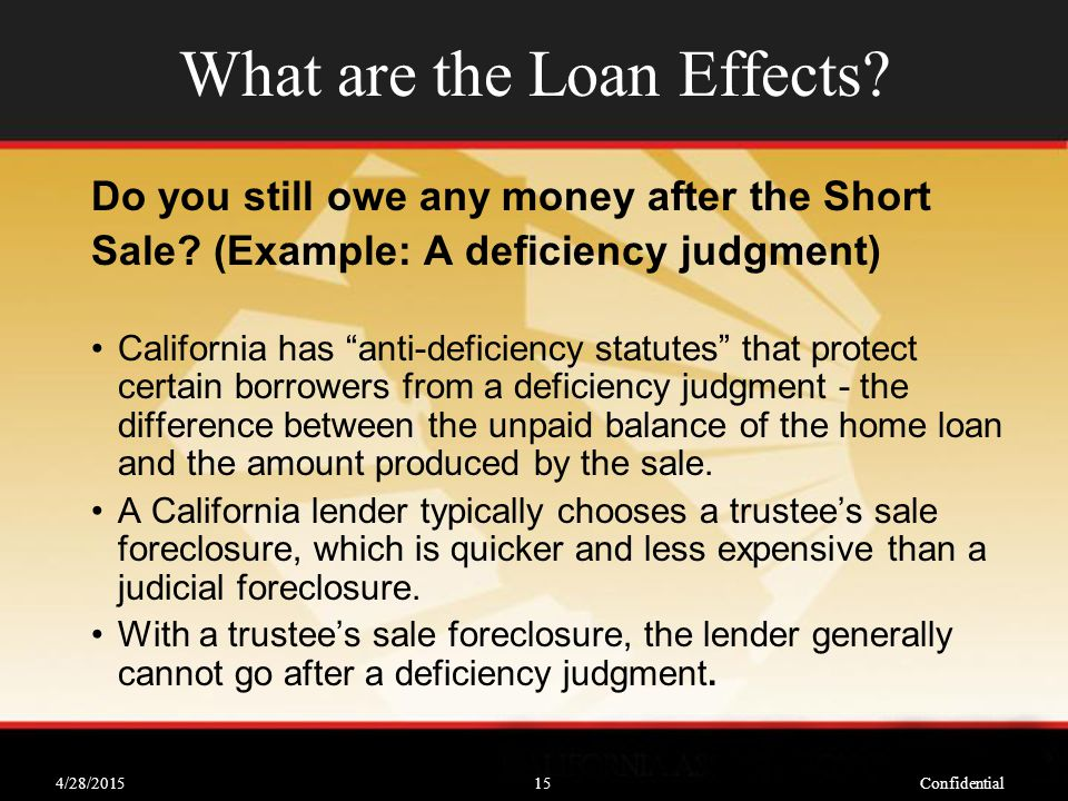 4/28/2015Confidential15 What are the Loan Effects.