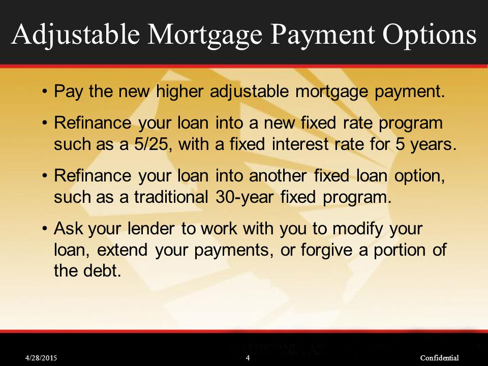 4/28/2015Confidential4 Adjustable Mortgage Payment Options Pay the new higher adjustable mortgage payment.