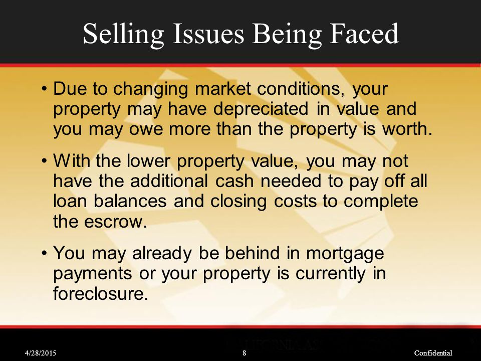 4/28/2015Confidential8 Selling Issues Being Faced Due to changing market conditions, your property may have depreciated in value and you may owe more than the property is worth.