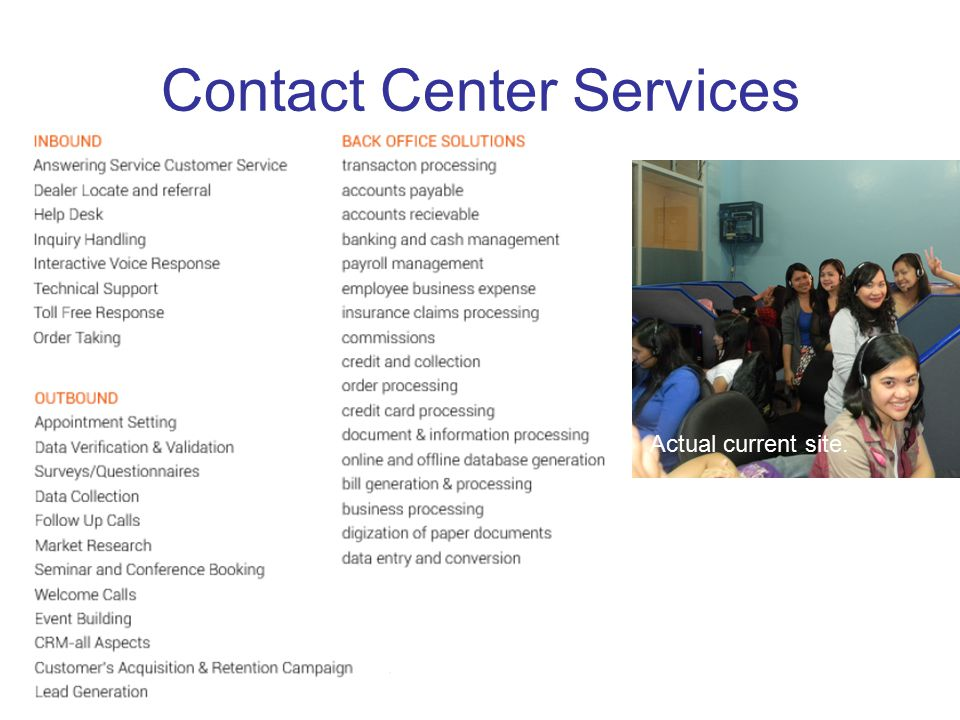 Contact Center Services Actual current site.