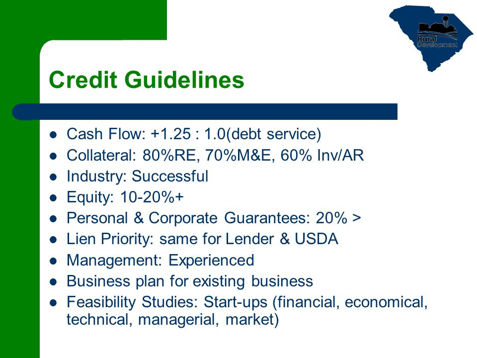 Credit Guidelines Cash Flow: +1.25 : 1.0(debt service) Collateral: 80%RE, 70%M&E, 60% Inv/AR Industry: Successful Equity: 10-20%+ Personal & Corporate