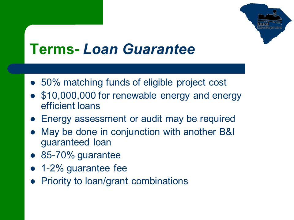 Terms- Loan Guarantee 50% matching funds of eligible project cost $10,000,000 for renewable energy and energy efficient loans Energy assessment or audit may be required May be done in conjunction with another B&I guaranteed loan 85-70% guarantee 1-2% guarantee fee Priority to loan/grant combinations