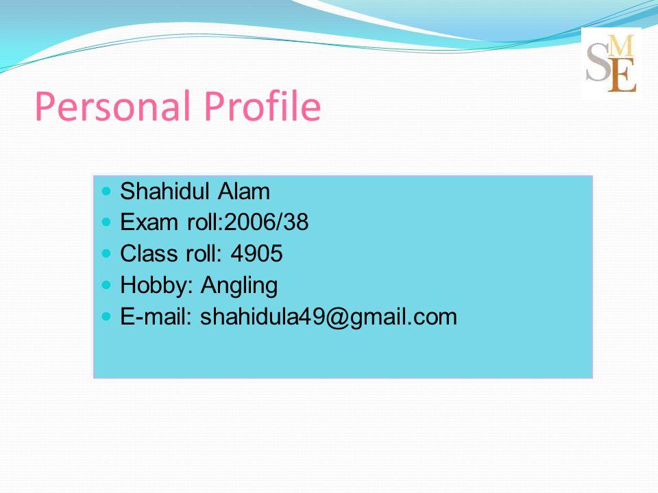 Personal Profile Shahidul Alam Exam roll:2006/38 Class roll: 4905 Hobby: Angling E-mail: shahidula49@gmail.com