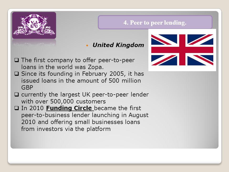 United Kingdom 4. Peer to peer lending.