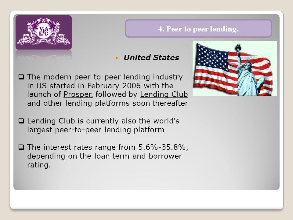 United States 4. Peer to peer lending.