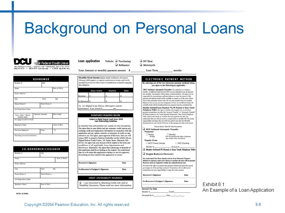Copyright ©2004 Pearson Education, Inc. All rights reserved.8-8 Background on Personal Loans Exhibit 8.1: An Example of a Loan Application