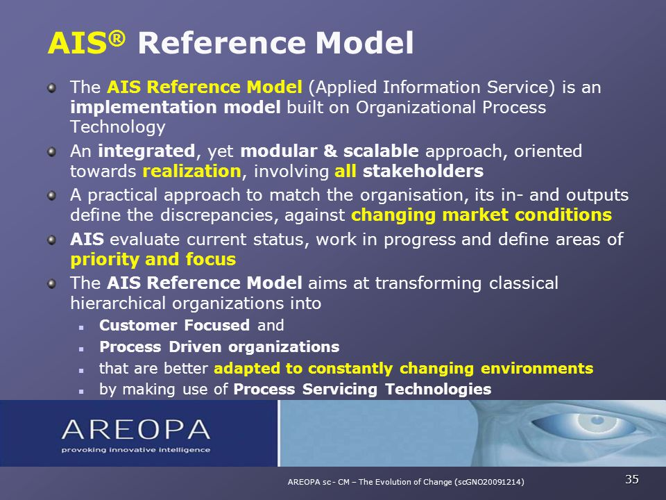 The AIS Reference Model (Applied Information Service) is an implementation model built on Organizational Process Technology An integrated, yet modular