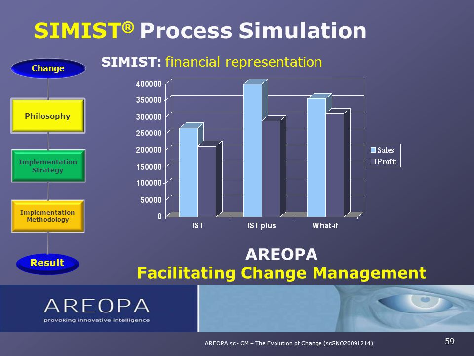 SIMIST ® Process Simulation 59 AREOPA sc - CM – The Evolution of Change (scGNO20091214) SIMIST: financial representation AREOPA Facilitating Change Ma