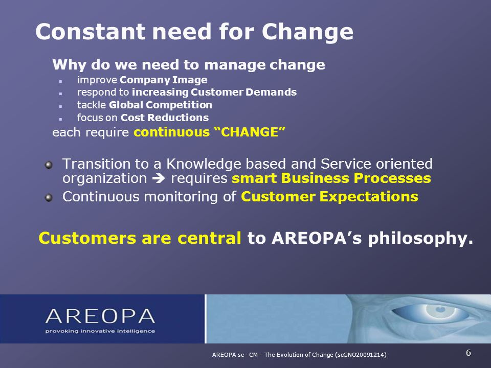 Why do we need to manage change improve Company Image respond to increasing Customer Demands tackle Global Competition focus on Cost Reductions each r