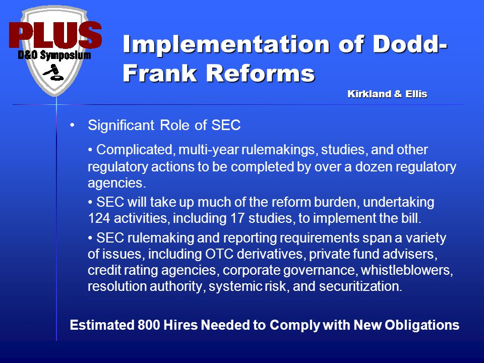 Implementation of Dodd- Frank Reforms Significant Role of SEC Complicated, multi-year rulemakings, studies, and other regulatory actions to be complet