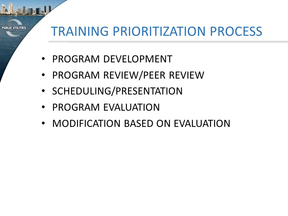 TRAINING PRIORITIZATION PROCESS PROGRAM DEVELOPMENT PROGRAM REVIEW/PEER REVIEW SCHEDULING/PRESENTATION PROGRAM EVALUATION MODIFICATION BASED ON EVALUATION
