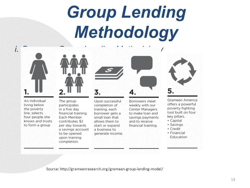 Group Lending Methodology i. Grameen Group Lending Methodology Source: http://grameenresearch.org/grameen-group-lending-model/ 14