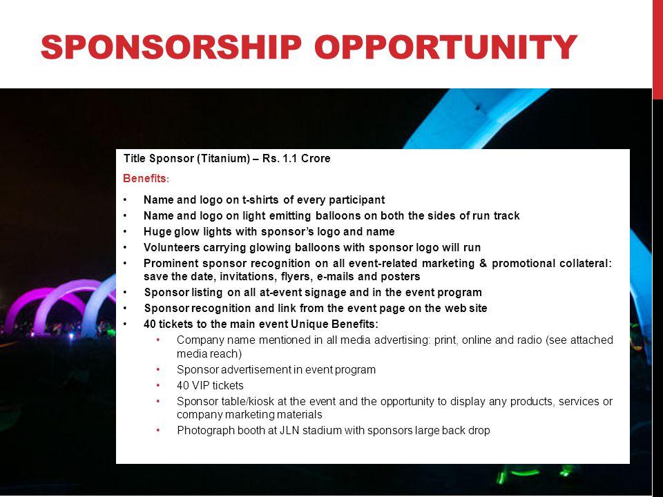 SPONSORSHIP OPPORTUNITY Title Sponsor (Titanium) – Rs.