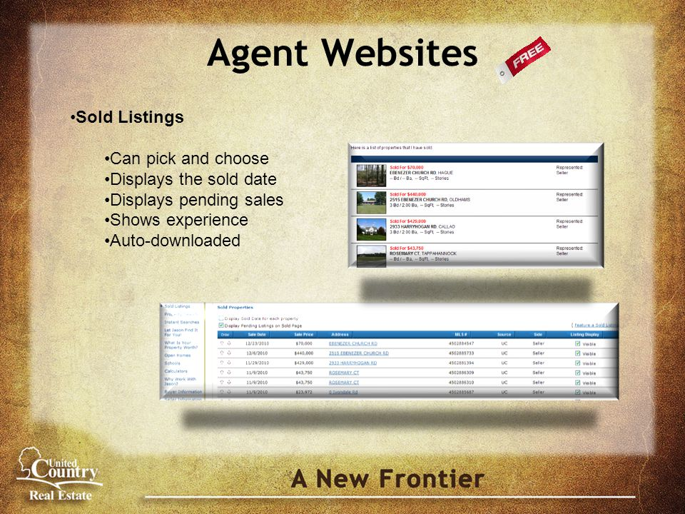 Agent Websites Sold Listings Can pick and choose Displays the sold date Displays pending sales Shows experience Auto-downloaded