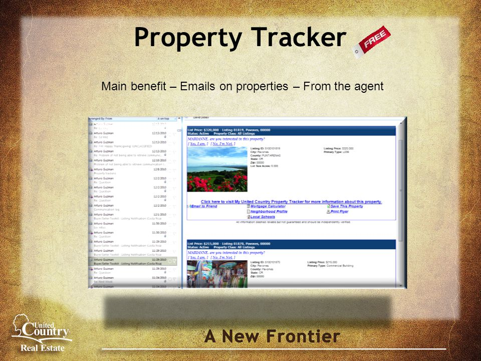 Property Tracker Main benefit – Emails on properties – From the agent