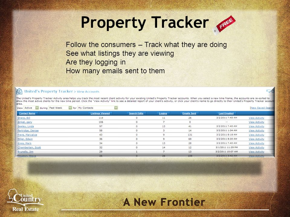 Property Tracker Follow the consumers – Track what they are doing See what listings they are viewing Are they logging in How many emails sent to them