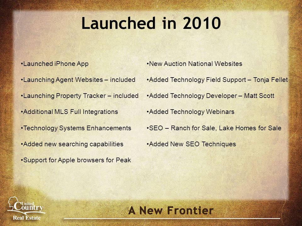 Launched in 2010 Launched iPhone App Launching Agent Websites – included Launching Property Tracker – included Additional MLS Full Integrations Techno