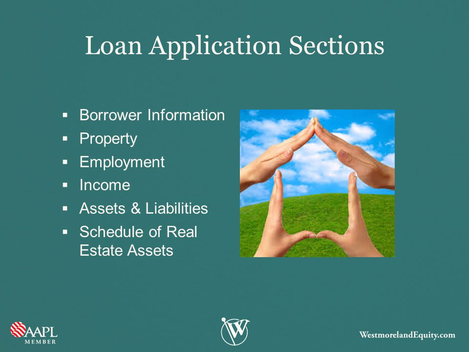 Loan Application Sections  Borrower Information  Property  Employment  Income  Assets & Liabilities  Schedule of Real Estate Assets