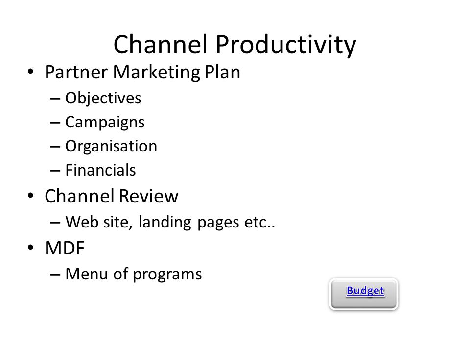 Channel Productivity Partner Marketing Plan – Objectives – Campaigns – Organisation – Financials Channel Review – Web site, landing pages etc.. MDF –
