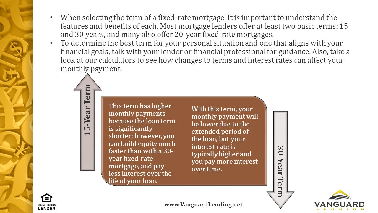 www.VanguardLending.net When selecting the term of a fixed-rate mortgage, it is important to understand the features and benefits of each.