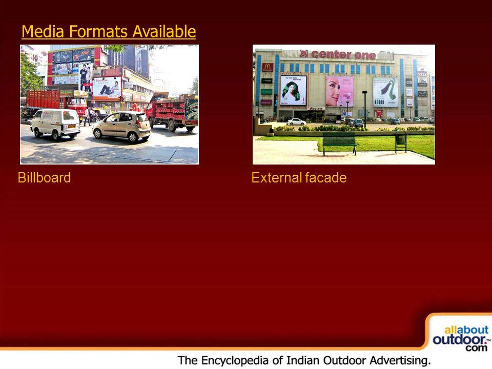 Media Formats Available BillboardExternal facade