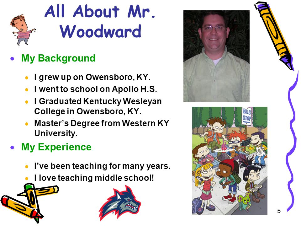 5 All About Mr.Woodward  My Background  I grew up on Owensboro, KY.