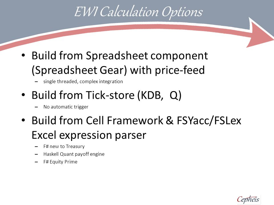 Cell Framework Model object encapsulates calculations Closures with event triggers Computational Expression Builder Parser for Excel expressions Selected for speed of development