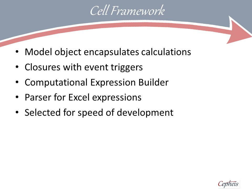 Cell Model Model presented to C# as a class with properties Source indicators seeded with default values type EWISample (model : IModel) as this = inherit Cephei.Kernel.Model (model) // cell definitions let _hsbc_px_last = cell.Value (Fun.load hsbc_px_last 609.1) let _hsbc_history = cell.Value (Fun.load hsbc_history (Fun.defaultTS 260 Double.NaN)) let _hsbc_CDS_3month = cell.Value (Fun.load hsbc_px_last 33.1) let _hsbc_CDS_9month = cell.Value (Fun.load hsbc_px_last 43.1) let _hsbc_px_close = cell { return Fun.first _hsbc_history.Value } let _hsbc_three_nine_diff = cell { return _hsbc_CDS_3month.Value - _hsbc_CDS_9month.Value } let _hsbc_30avg = cell { return Fun.avg30day _hsbc_history.Value } let _hsbc_30high = cell { return Fun.max30day _hsbc_history.Value } let _hsbc_30low = cell { return Fun.max30day _hsbc_history.Value } let _hsbc_px_last_rag = cell {let.
