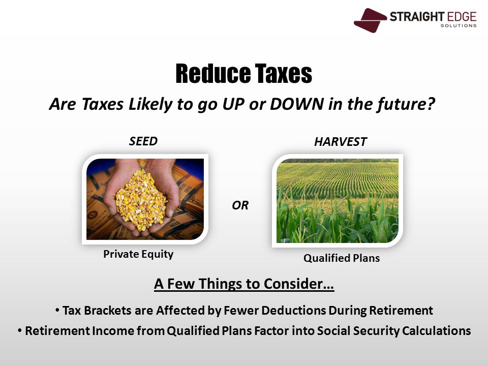 Reduce Taxes Are Taxes Likely to go UP or DOWN in the future.