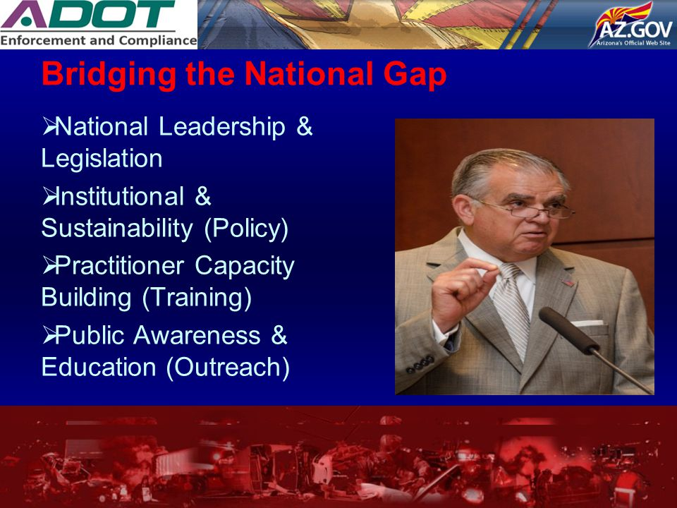 Bridging the National Gap  National Leadership & Legislation  Institutional & Sustainability (Policy)  Practitioner Capacity Building (Training) 