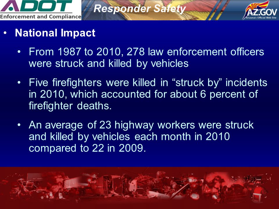 Responder Safety National Impact From 1987 to 2010, 278 law enforcement officers were struck and killed by vehicles Five firefighters were killed in ""
