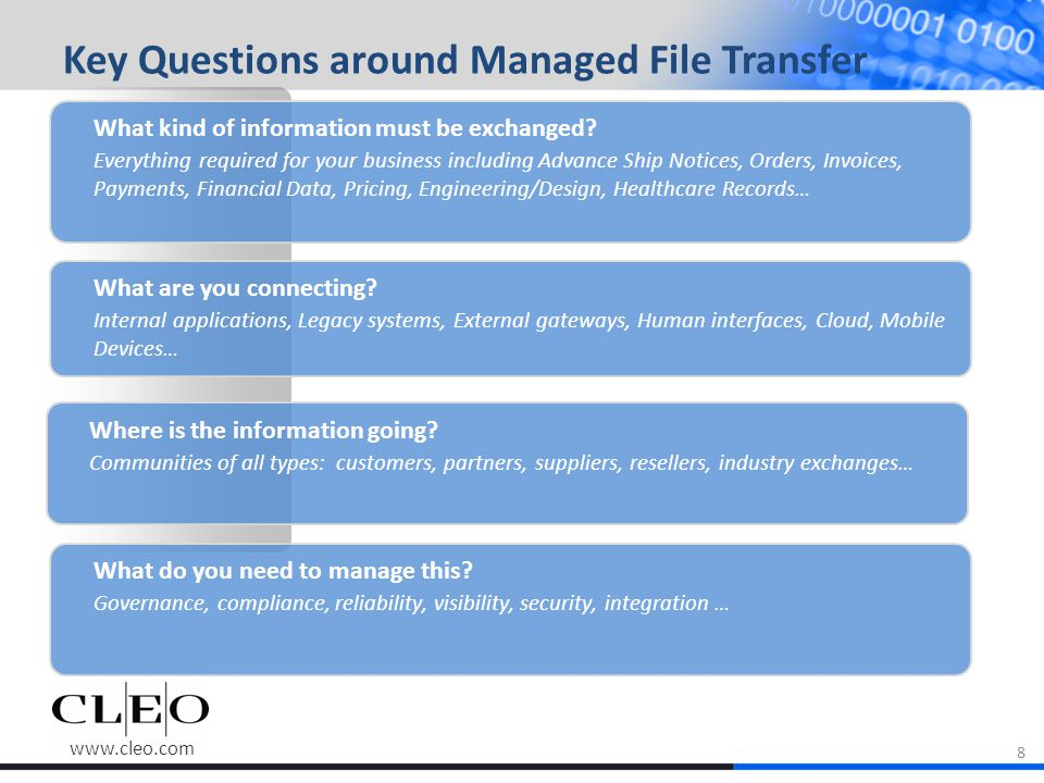 www.cleo.com Key Questions around Managed File Transfer What kind of information must be exchanged.