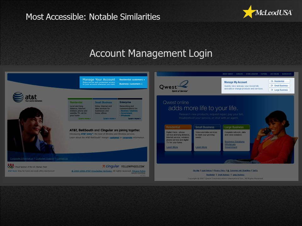 Most Accessible: Notable Similarities Account Management Login