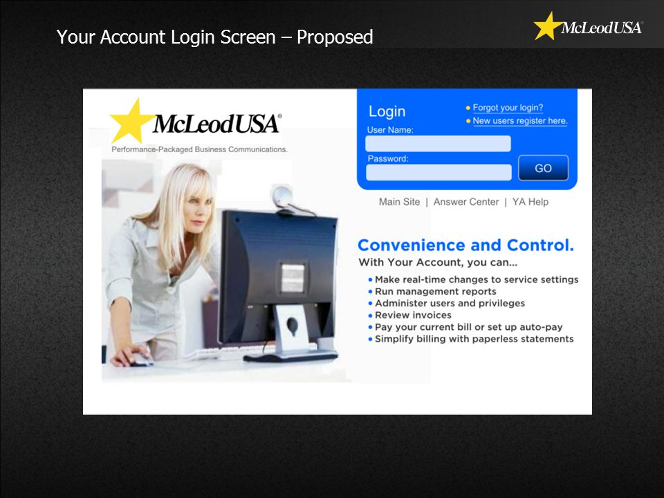 Your Account Login Screen – Proposed