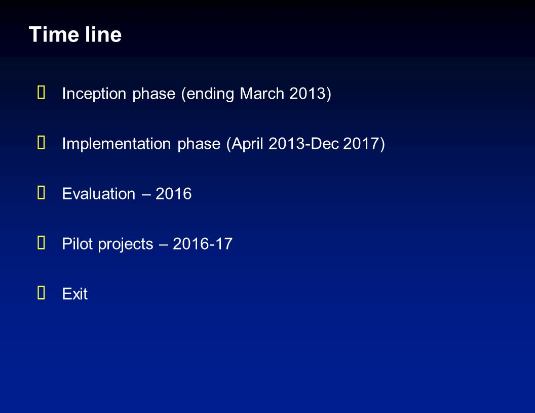 Time line  Inception phase (ending March 2013)  Implementation phase (April 2013-Dec 2017)  Evaluation – 2016  Pilot projects – 2016-17  Exit