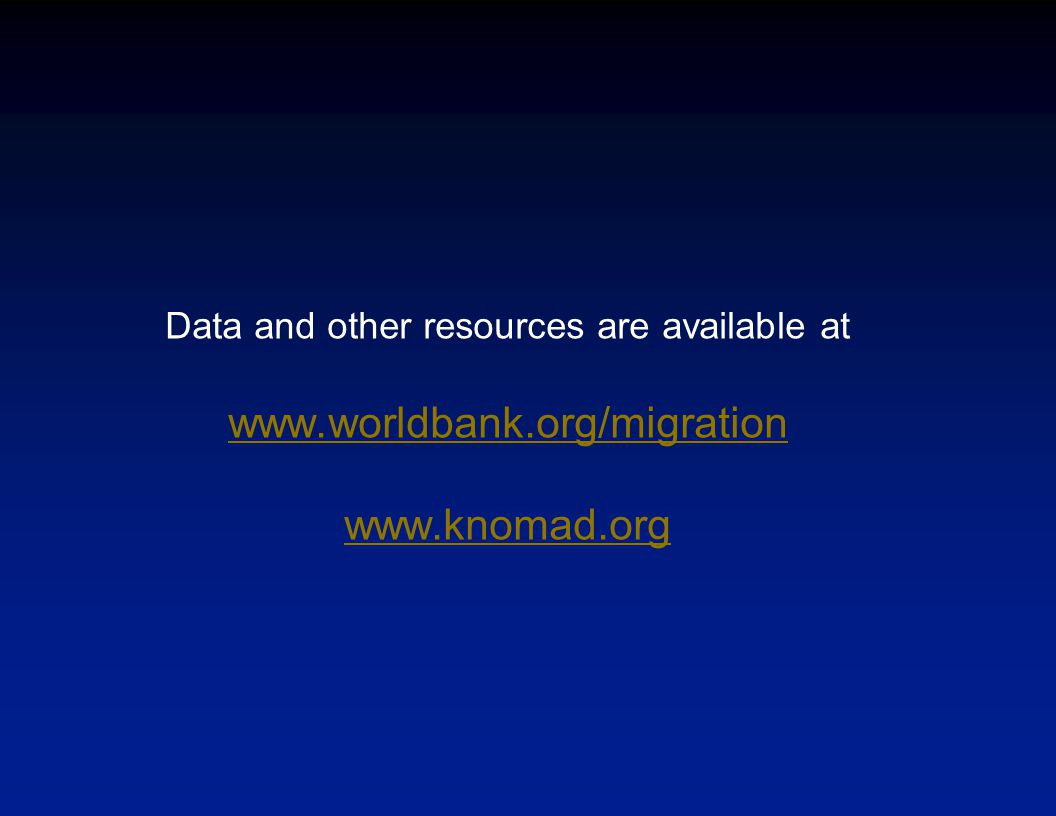 Data and other resources are available at www.worldbank.org/migration www.knomad.org
